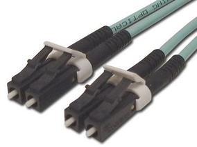 Picture of 30 m Multimode Duplex Fiber Optic Patch Cable (50/125) OM3 Aqua - Laser Opt - LC to LC