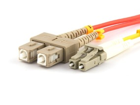 Picture of 25 m Multimode Duplex Fiber Optic Patch Cable (50/125) - LC to SC