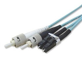 Picture of 15 m Multimode Duplex Fiber Optic Patch Cable (50/125) OM3 Aqua - Laser Opt - LC to ST