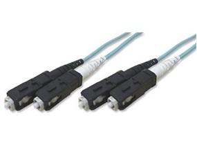 Picture of 15 m Multimode Duplex Fiber Optic Patch Cable (50/125) OM3 Aqua - Laser Opt - SC to SC