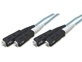 Picture of 50 m Multimode Duplex Fiber Optic Patch Cable (50/125) OM3 Aqua - Laser Opt - SC to SC