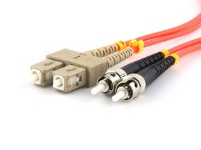 Picture of 25 m Multimode Duplex Fiber Optic Patch Cable (50/125) - SC to ST