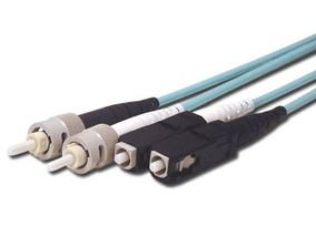 Picture of 25 m Multimode Duplex Fiber Optic Patch Cable (50/125) OM3 Aqua - Laser Opt - SC to ST