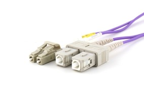 Picture of 15 m Multimode Duplex OM4 Fiber Optic Patch Cable (50/125) - LC to SC
