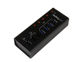 Picture of 4 Port USB 3.0 Hub plus 3 Dedicated USB Charging Ports (2 x 1A & 1 x 2A) - Wall Mountable Metal Enclosure