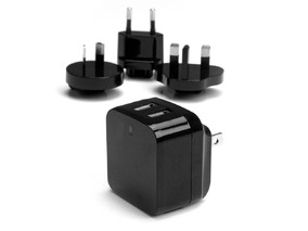 Picture of Dual-Port USB Wall Charger - International Travel - 17W/3.4A - Black