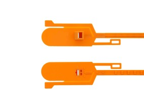 Picture of 15 Inch Blank Tamper Evident Tear Away Orange Plastic Seal - 100 Pack